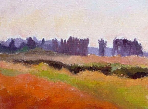 """Shollenberger Wetlands sketch, 12x9"""", oil on panel (click image to enlarge)"""
