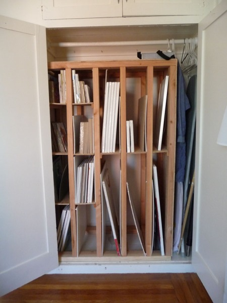 Canvas storage rack in closet