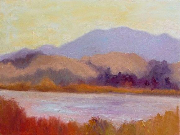 """Shollenberger Wetlands, 12x9"""", Oil on panel (click image to enlarge)"""