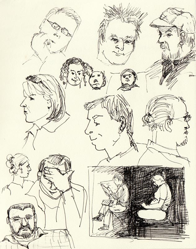 Doodleheads 2: Subway sketches of people on BART