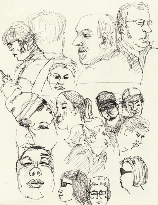 Subway sketches of people on BART