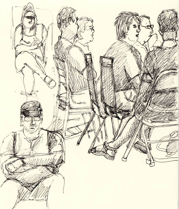 Sketches of people meeting