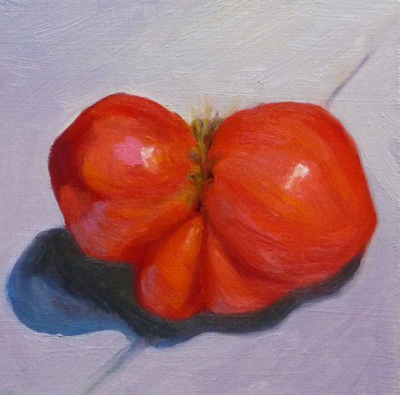 "First Tomato, oil on panel 6x6"" (click image to enlarge)"