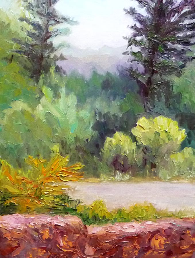 Sibley Park View from Visitors Center, Oil on panel, 12x9