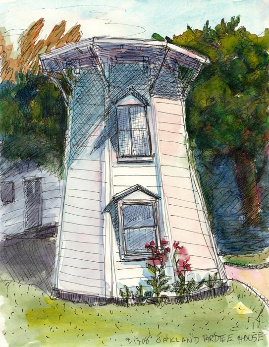 Pardee House Water Tower, ink & watercolor 8x6""