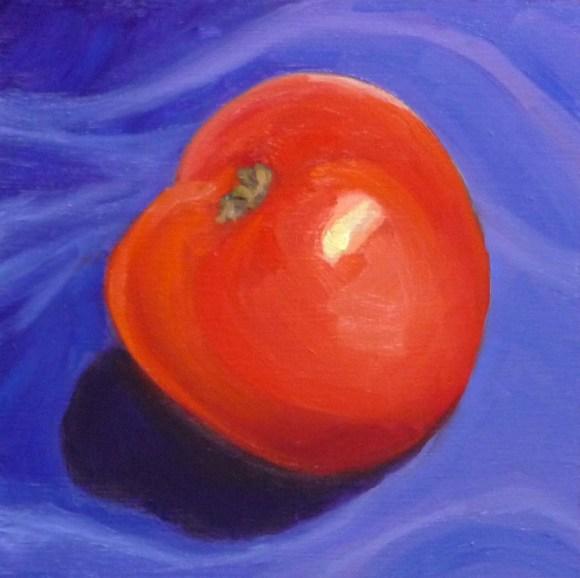"""Tomato on Purple Velvet, Oil on panel, 6x6"""""""