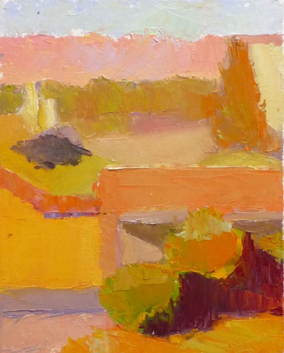 Afternoon light color study, Petaluma, oil on panel, 12x9""