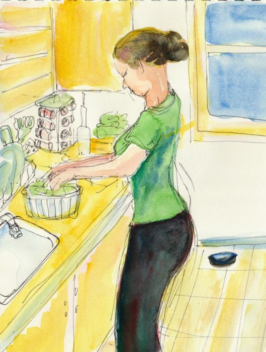 Jessica cooking, ink & watercolor, 8x6""