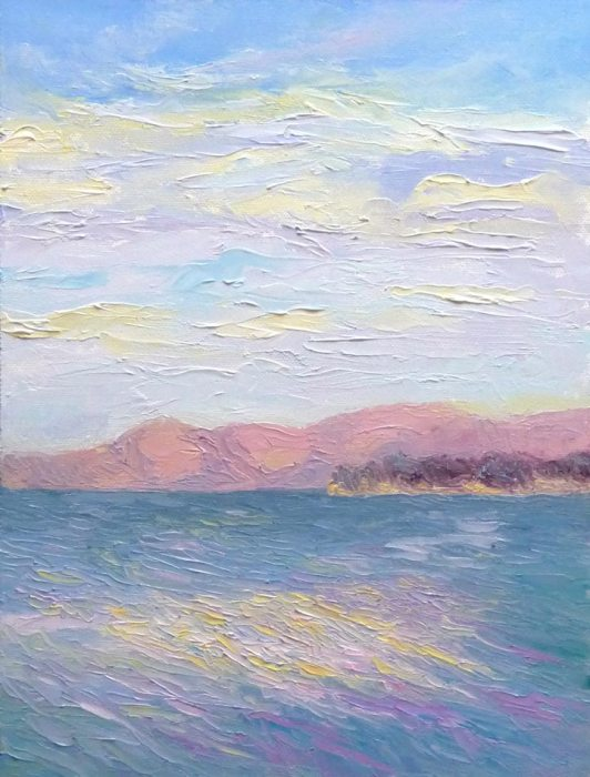 View from China Camp, Plein Air, Oils, 12x9""