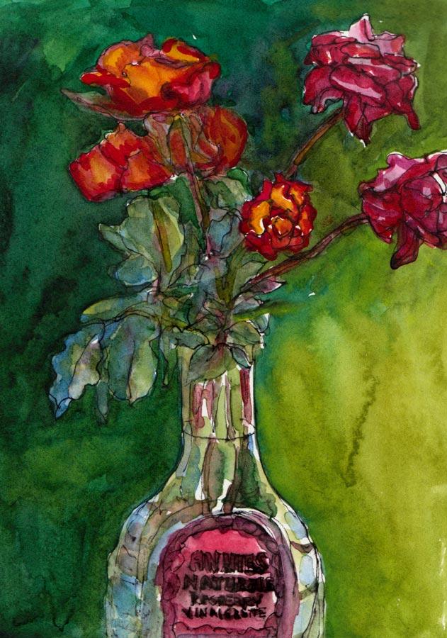"October Roses, Ink & Watercolor 8x6"""