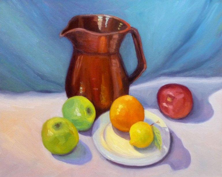 "Temoku Pitcher & Fruit, Oil on canvas, 16x20"""