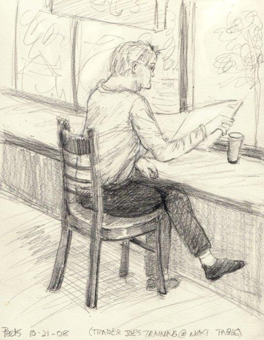 """Coffee & White Socks, 8x6"""", graphite"""