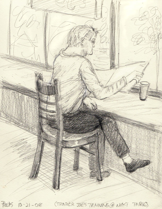"Coffee & White Socks, 8x6"", graphite"