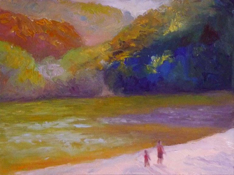 Lake Anza Autumn, 9x12, Oil on panel