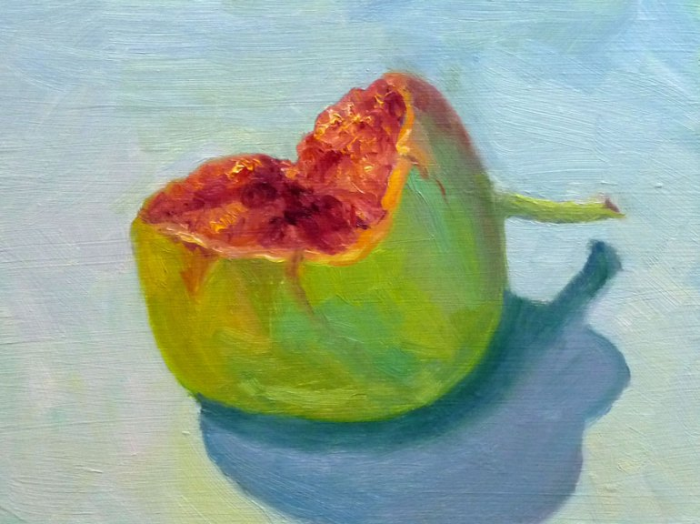 Green Fig, Oil on panel, 8x6""