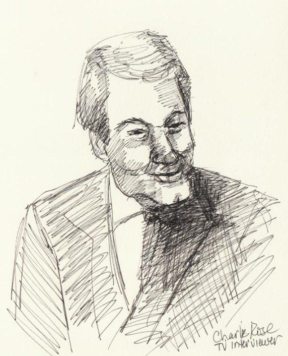 "Charlie Rose, Ink in sketchbook, 8x6"""
