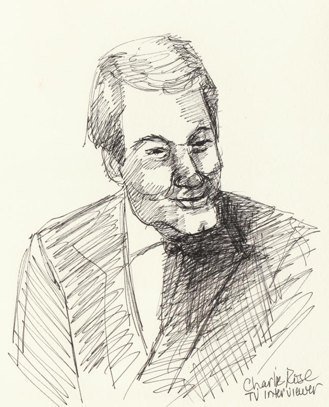 Charlie Rose, Ink in sketchbook, 8x6""