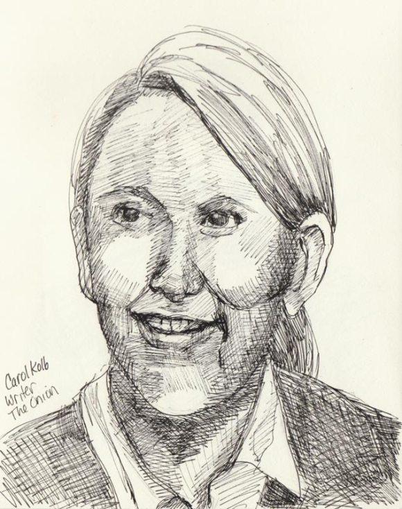 """Carol Kolb, Ink in sketchbook, 8x6"""""""