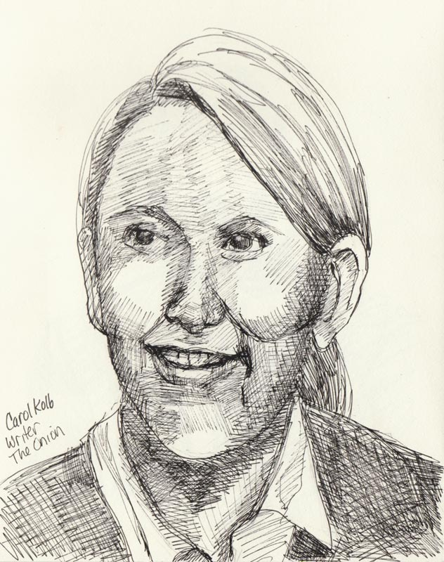 Carol Kolb, Ink in sketchbook, 8x6""