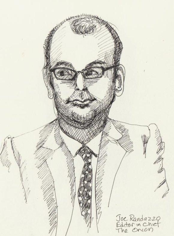 "Joe Randazzo, Ink in sketchbook, 8x6"""