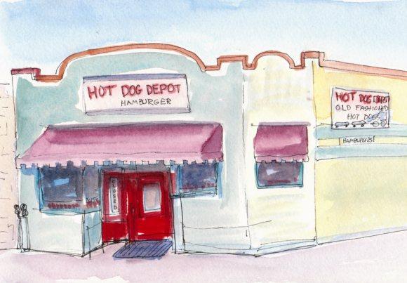 Martinez Hot Dog Depot, Ink & watercolor