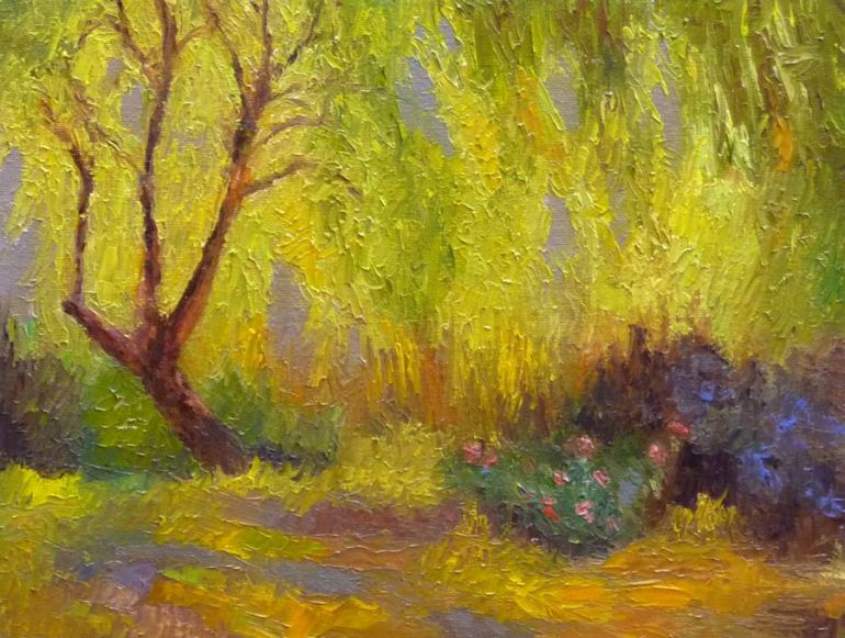 Lake Temescal Backlit, Oil on panel 9x12""