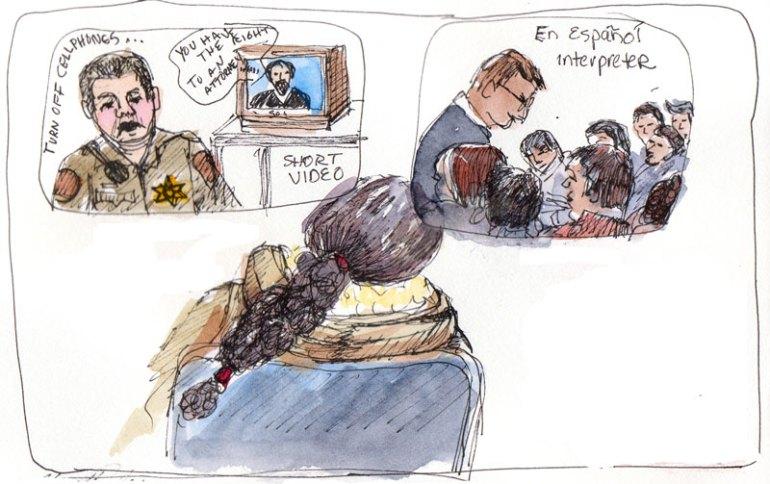 Traffic court video, ink & watercolor in sketchbook