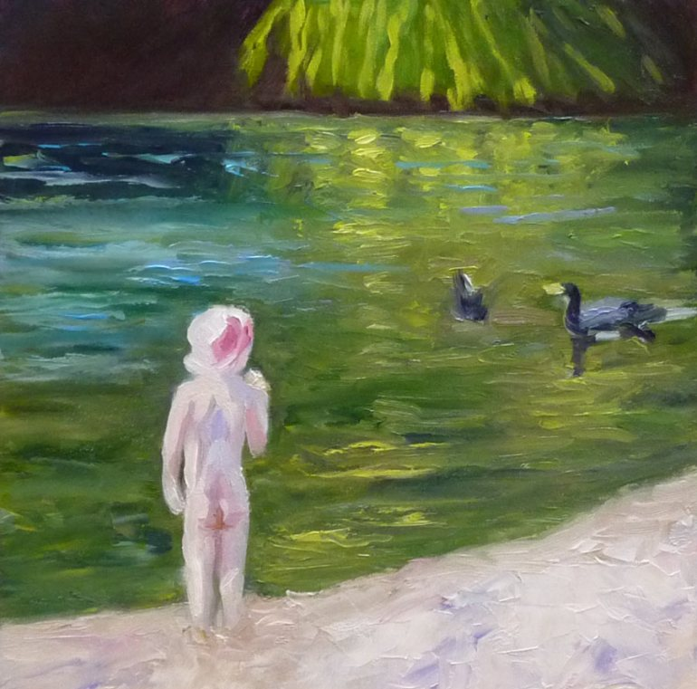 Little Girl at Lake Anza, Oil on Gessobord, 8x8""