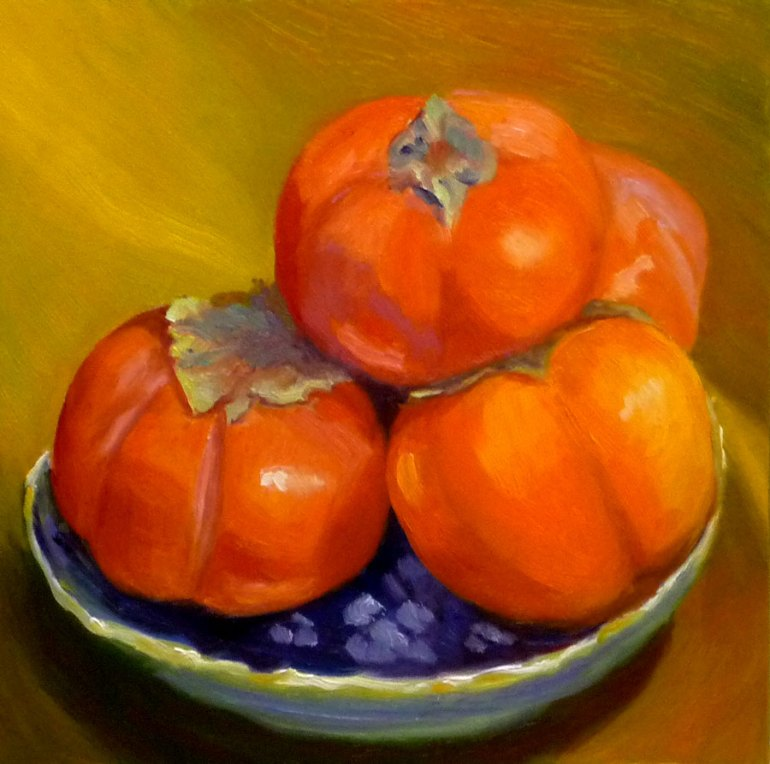 Pile of Persimmons, Oil on Gessobord, 8x8""