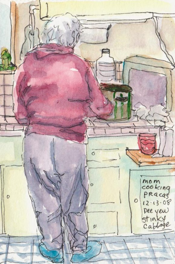 Mom cooking stinky cabbage, ink & watercolor