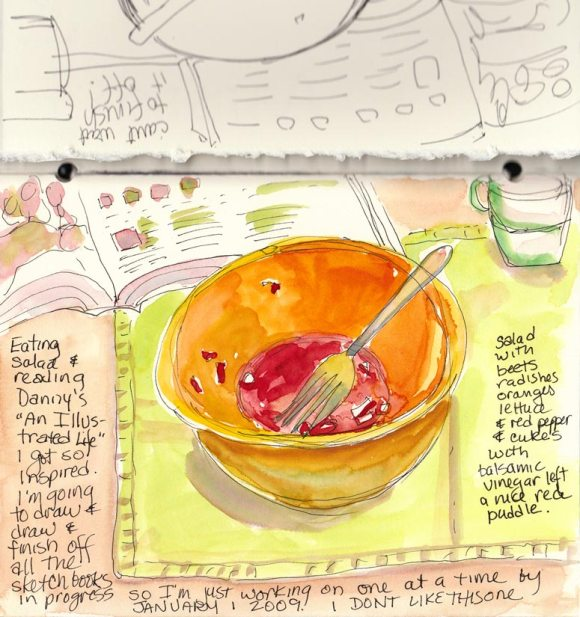 Salad Remains with Danny's Book (ink & watercolor)
