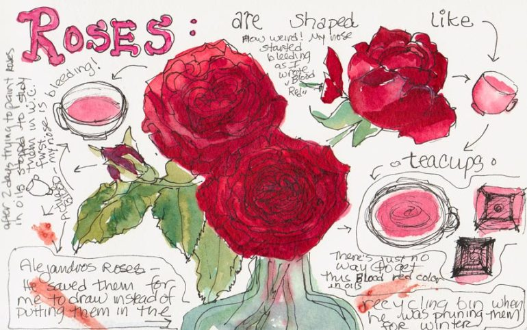 Blood Red Roses, Ink, Watercolor & Blood!