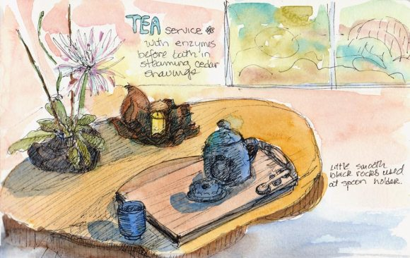 Tea Service at Osmosis, Ink & watercolor