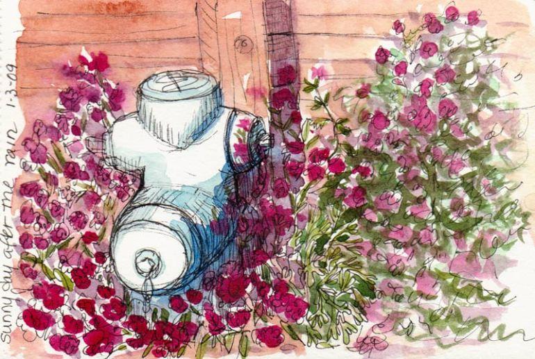 Fireplug and Flowers