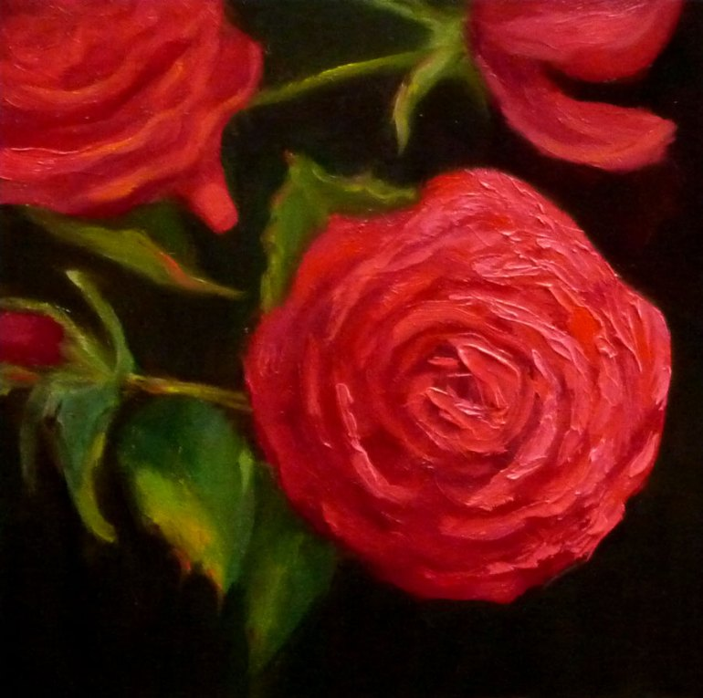 Red Roses, Oil, 6x6""