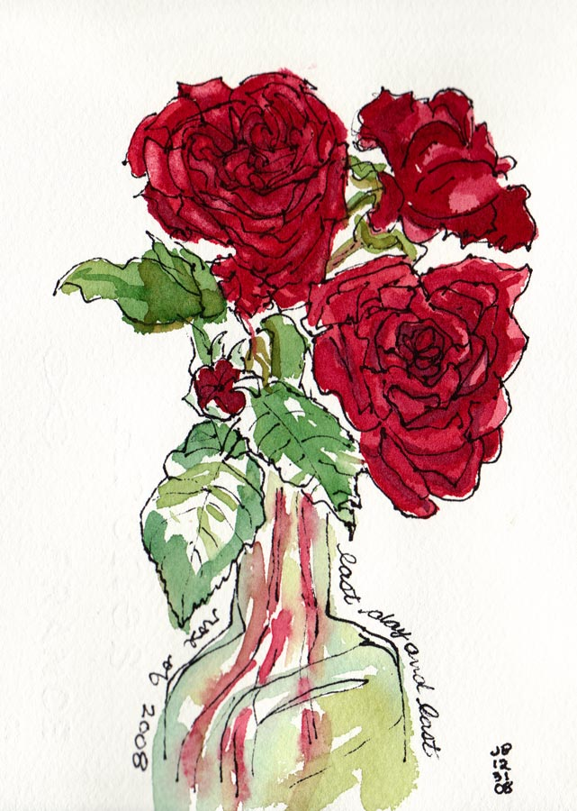Red Roses Painted With Watercolor Oil And Blood Jana Bouc Artist