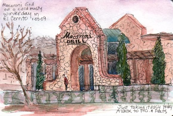 Macaroni Grill on a cold day, ink & watercolor