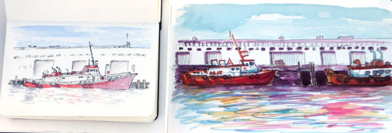 Martha & Jana sketch tugboats, Ink & watercolor