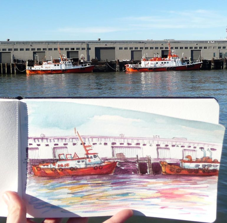 Actual tugboats with sketchbook