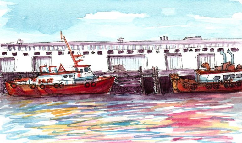 Tugboats, ink & watercolor