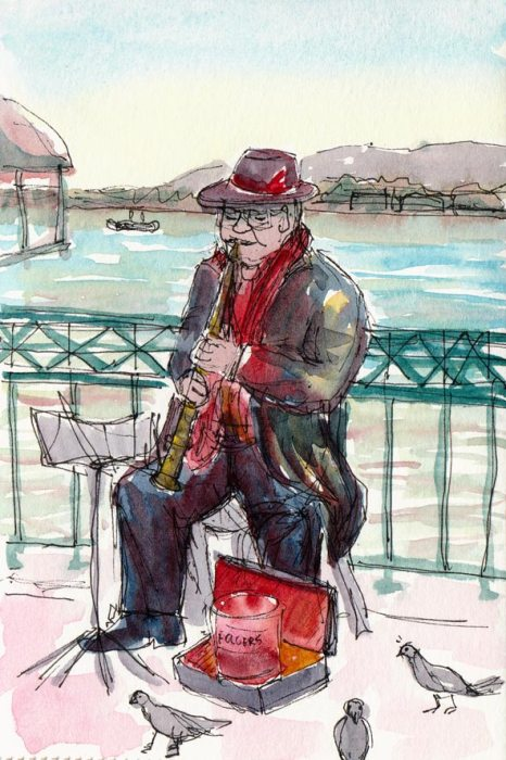 Entertaining the pigeonsClarinet player, iink & watercolor