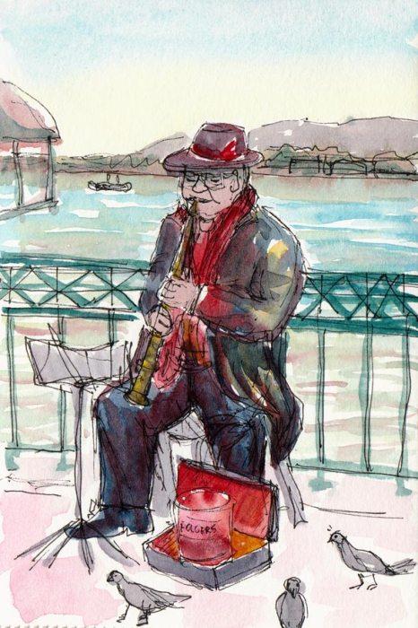 Entertaining the pigeonsClarinet player, iink & watercolor