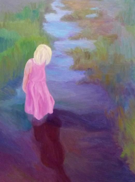 Hannah's Reflection, Oil on Gessobord, 16x12