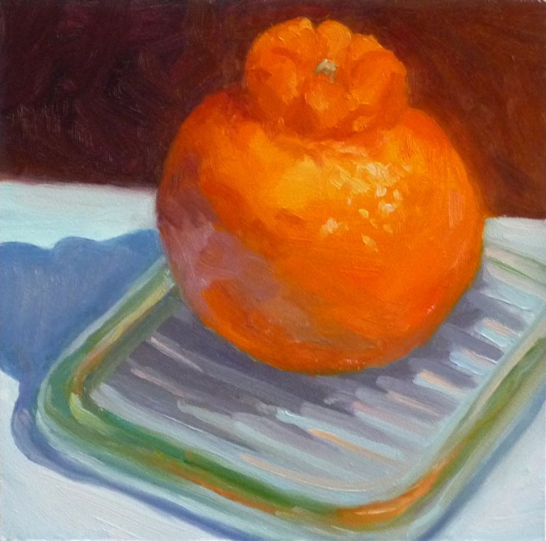 "Minneola tangelo, 6x6"", oil on panel"