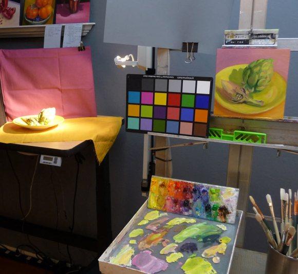 Artichokes, easel & palette in the studio