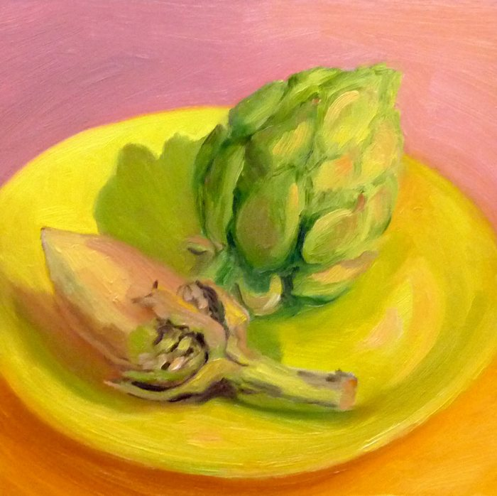 """Artichokes, Oil painting on 8x8"""" Gessobord"""