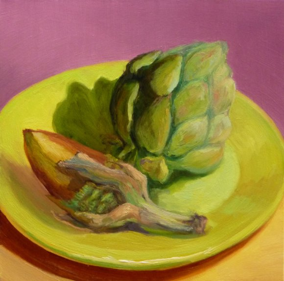 Artichokes Redux, oil on Gessobord, 8x8""