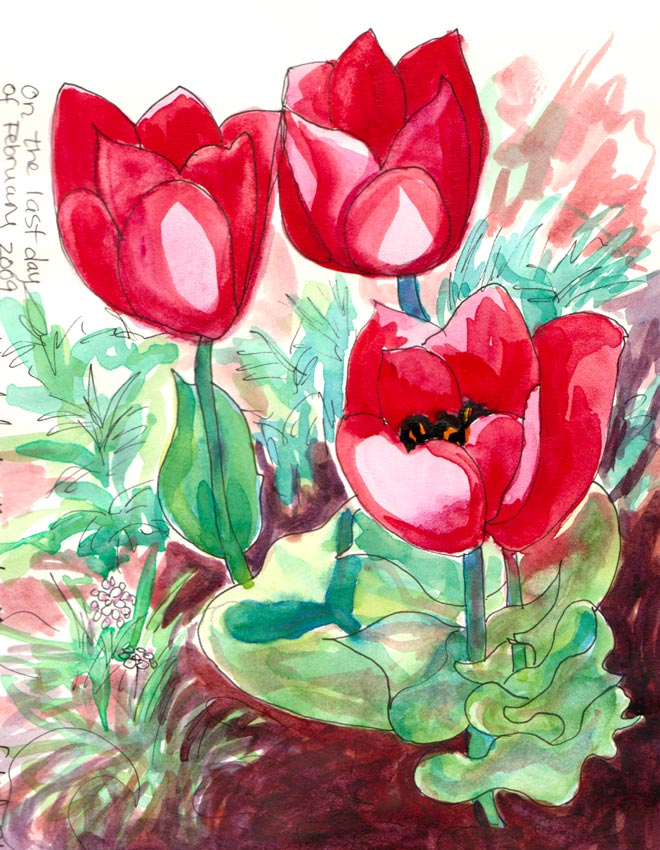 Tulips, Ink & watercolor in sketchbook, 6x8""