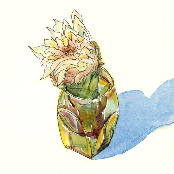 Artichoke Heart, Ink & watercolor on hotpress Arches paper