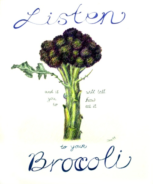 Listen to Your Broccoli, Colored Pencil, 24x18""